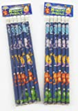 12 Monster Alien Theme Pencils with Eraser - Childrens Party Loot Bag Toy