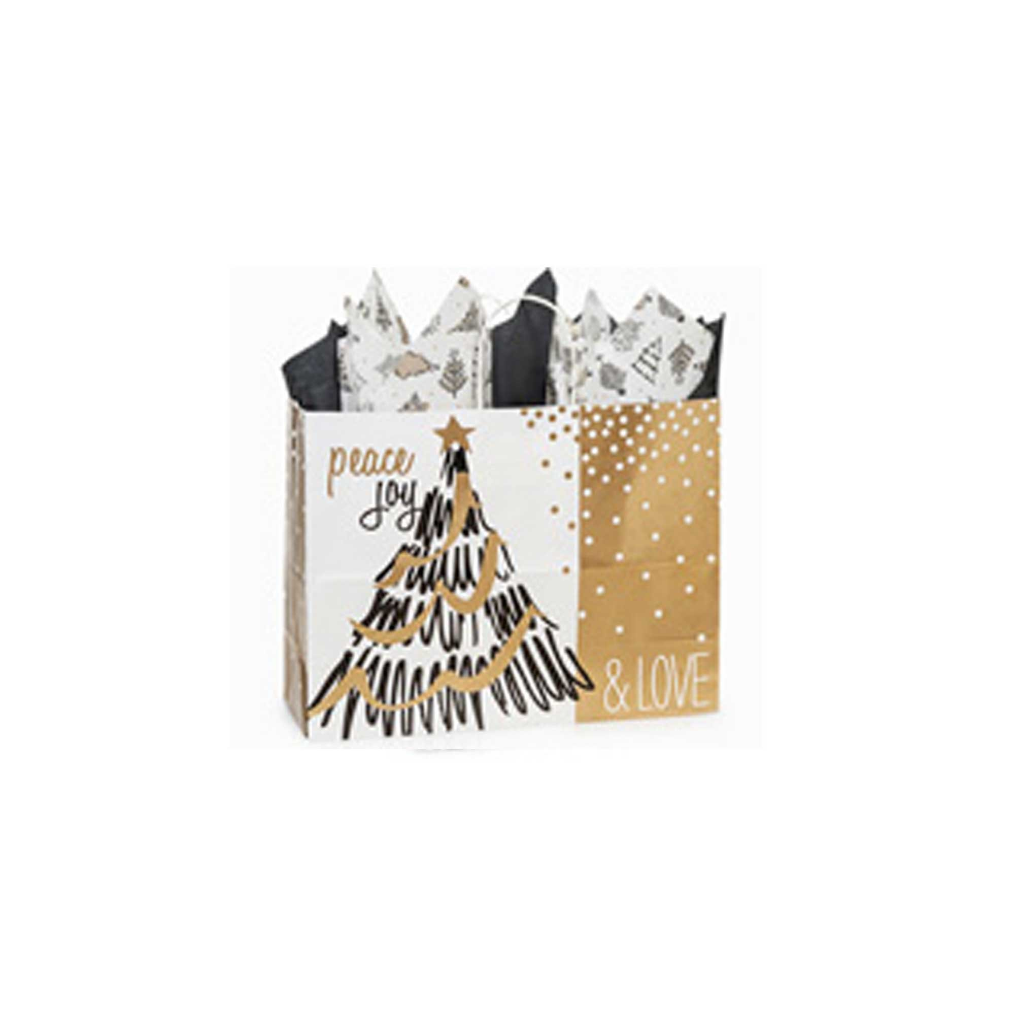 Creative Bag, Holiday Paper Shopping Bags, 16x6x12'', Golden Holiday Trees, 100ct, Merchandise, Retail, Party, Boutique, Gift, Bulk, Notion, Christmas, Holiday
