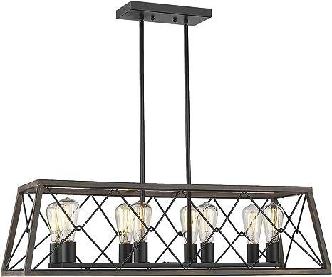 Amazon Com Zeyu 8 Light Kitchen Island Lighting Farmhouse Linear Pendant Light In Wood And Black Finish 011 8 Wf Bk Home Improvement