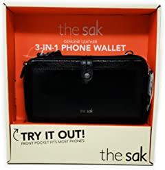 the sak Genuine Leather 3-in-1 Phone Wallet, Color: Black Onyx