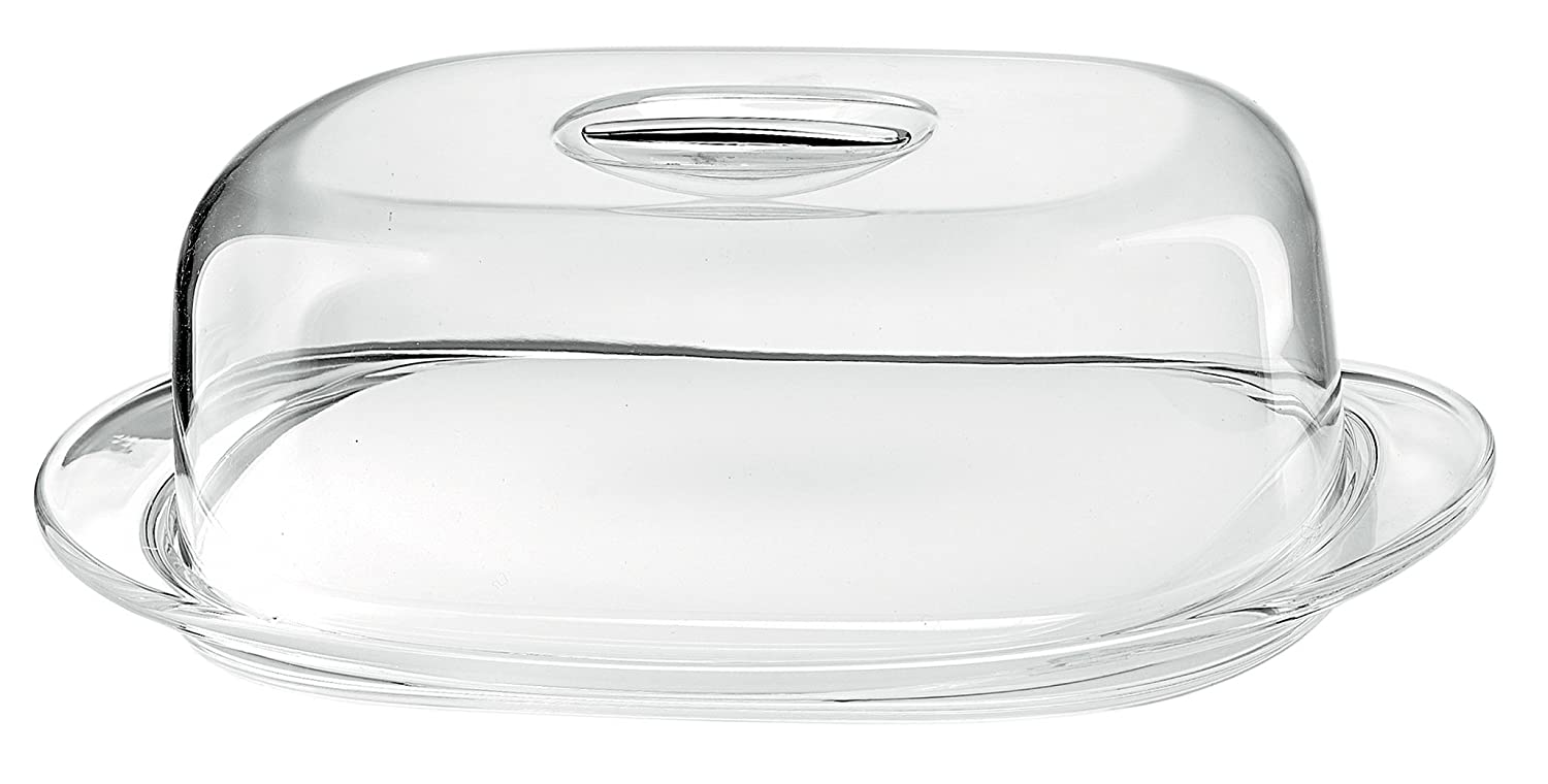 Guzzini Look Covered Cheese Dish Set, 7-3/4-Inches by 4-3/4-Inches, Chrome MAJESTIC GIFTS INC. GU-2293.00-16