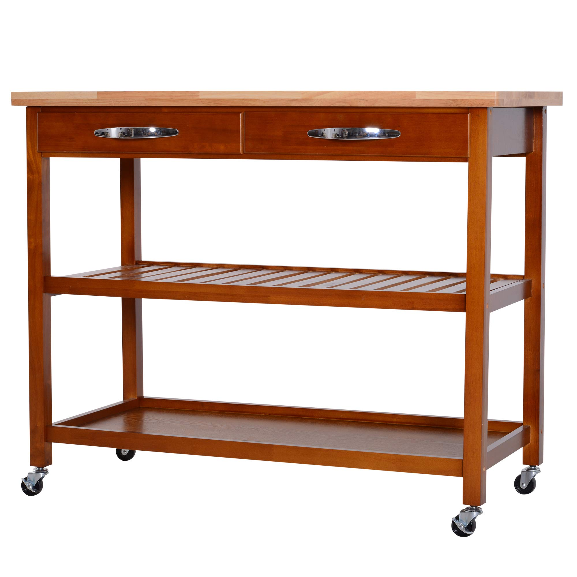 HOMCOM 44'' 3-Tier Rubberwood Kitchen Island Cart on Wheels - Brown by HOMCOM (Image #1)