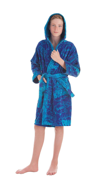 Stilia. Accappatoio giovanile da doccia per Ragazzo e bambino. Tessuto in spugna di cotone 100%. Bang. 10 a 12 años - 10 to 12 years old Blu