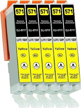 Imagen de5 Cartuchos de Tinta con viruta Compatible con Canon CLI-571 Amarillo para Pixma MG-5750 MG-5751 MG-6850 MG-7750 TS-5050 TS-5055 TS-6050 TS-8050 TS-9050 TS-9055 y más (Ver página del Producto)