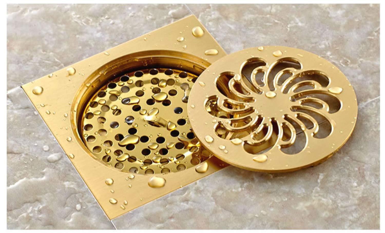 UNIQUE-F Quadratisches Badezimmer-Bodenablauf-Filter-Gitter-Dusche-entfernbarer Abdeckungs-Messinggarten im Freien MehrzweckGrüniefung