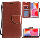 TecKraft Leather Wallet Case Multiple ID Slots Protective Flip Cover for Mi Redmi 6A (Amber Brown)