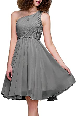 99Gown Bridesmaid Dresses Short Cocktail Dress One Shoulder Prom Formal Dresses For Women, Color Pewter