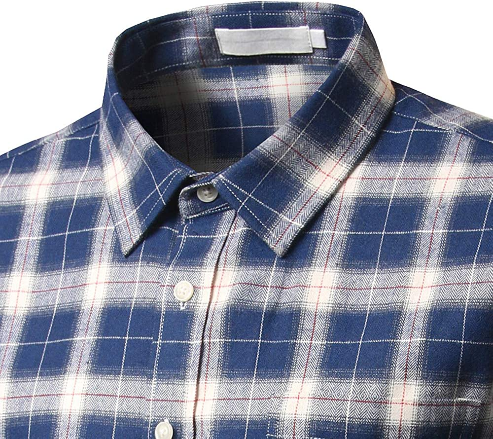 GREFER Mens New Casual and Self-Cultivating Checked Shirt Long Sleeved Checked Shirt Tops Blouse