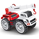 deAO Construction Crane Truck with Light and Sound Features – Interactive Push Wheeled Excavator Toy