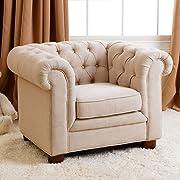 Abbyson Living RJ Kids Mini Fabric Chesterfield Club Chair in Beige