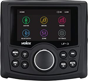 Powersports UTV Stereo AM/FM with Bluetooth Streaming 3 Zone, Compatible to Rear View Camera, External Amplifier Switch on/Off