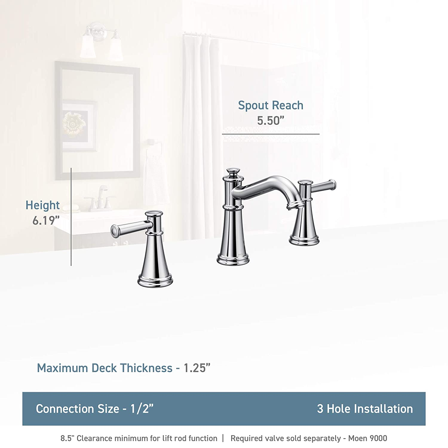 Chrome Moen T6405 Belfield T6405 Belfield Two-Handle Widespread Bathroom Faucet