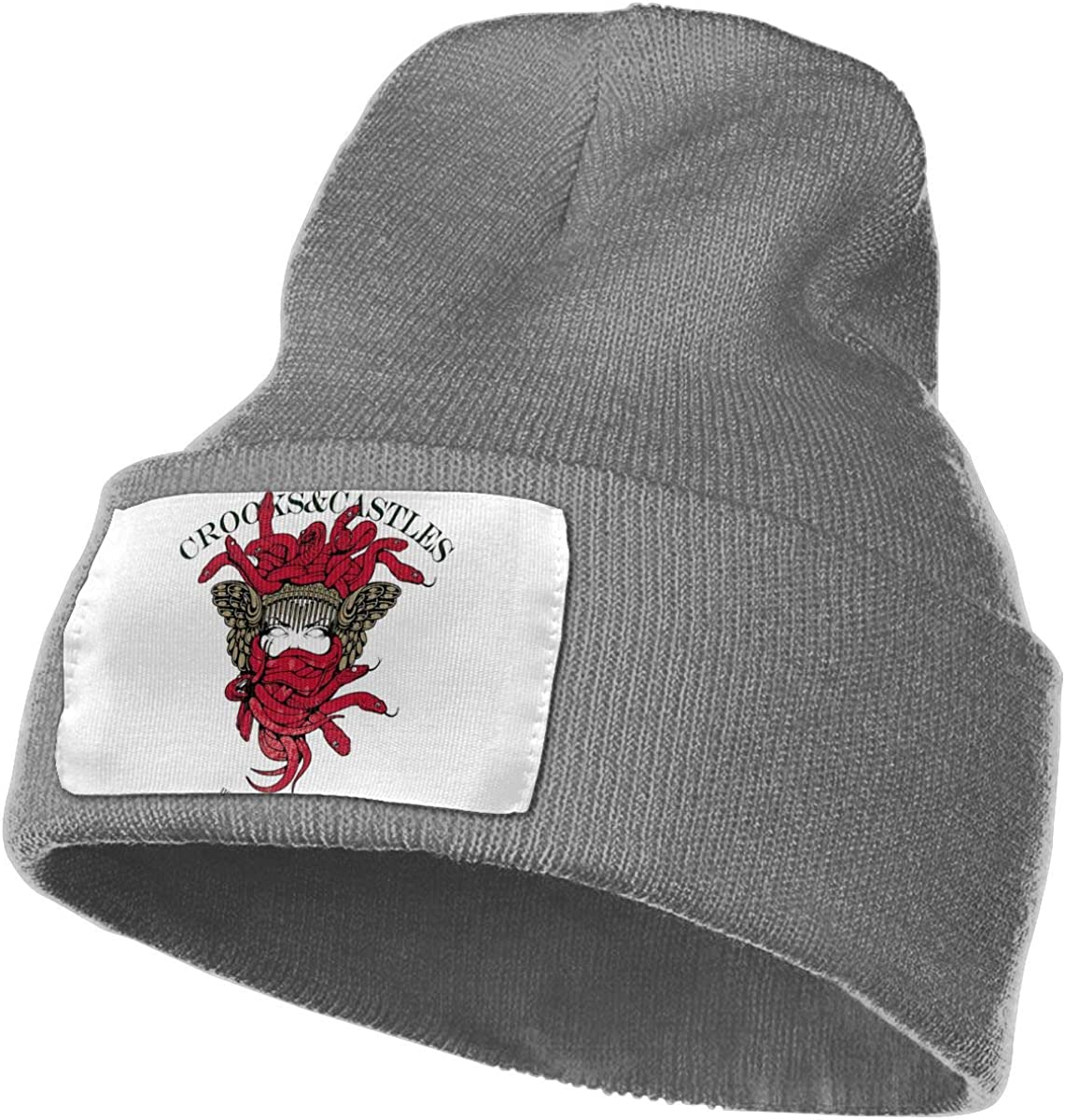 Cewrightdric Winter Crooks and Castles Warm Classic Knit Cap Beanie Hats for Mens Womens Black