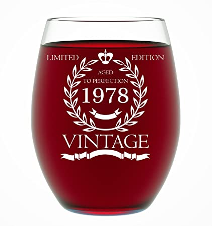 1978 40th Birthday Gifts For Women And Men Wine Glass