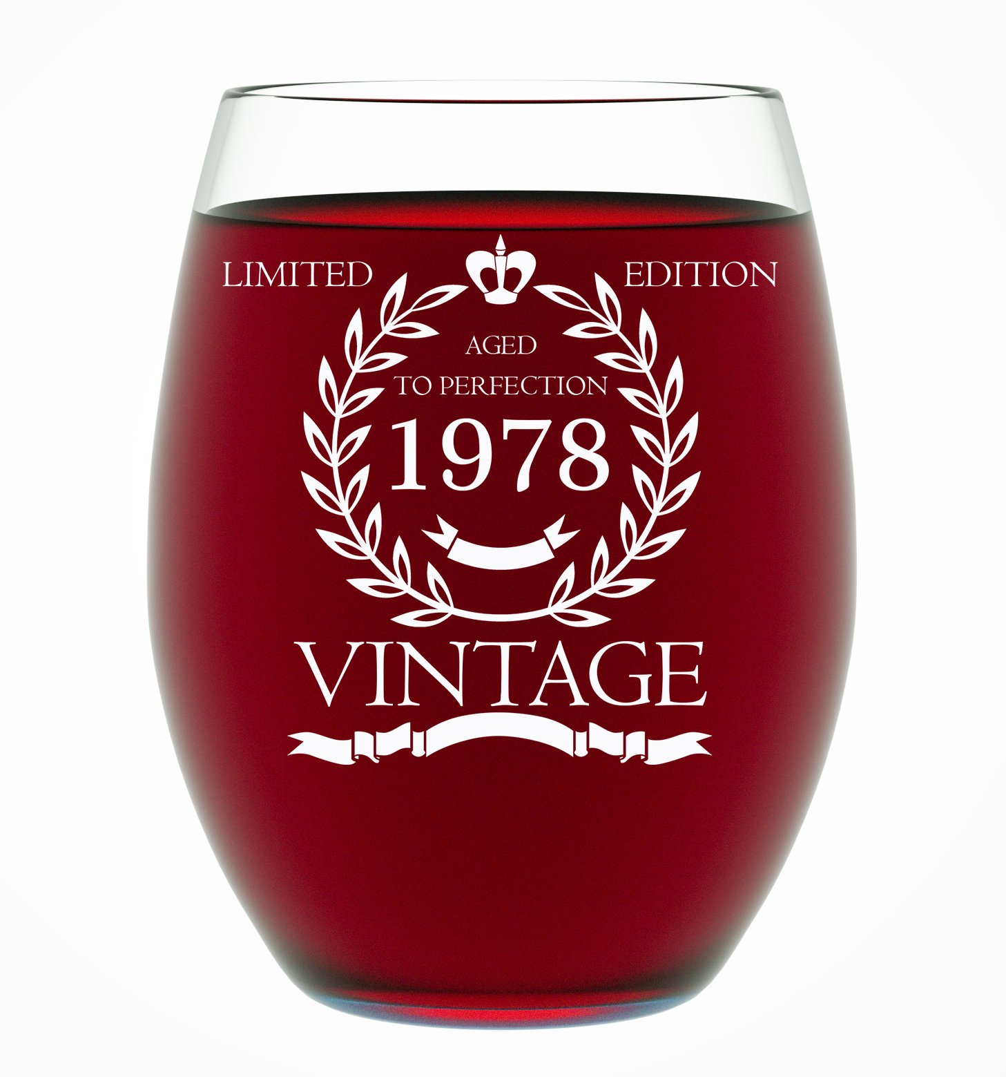 1978 40th Birthday Gifts for Women and Men Wine Glass - Funny Vintage Anniversary Gift Ideas for Him or Her, Husband or Wife Wine Glass for Mom 15 OZ - Wine Glass Birthday Gifts
