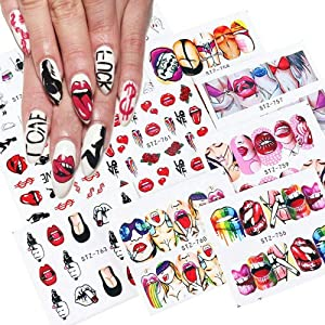 Nail Art Decals Sticker for Women Girls Nail Accessories Decorations Water Transfer Sexy Lips Cool Girl 9 Sheets/Set