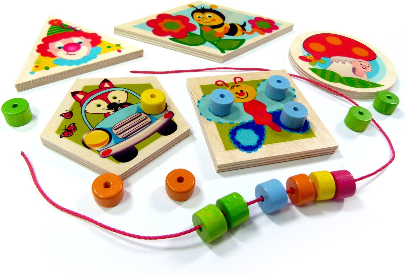 Hess Wooden World of Colours Threading Baby Toy