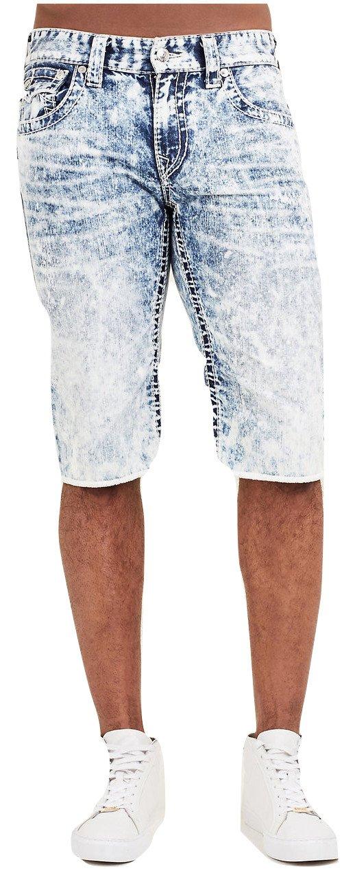 True Religion Men's Straight Big T Cut-Off Short w/ Flaps in Summer Melody (38)