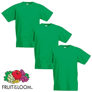 c7e93ed79 3 Pack Fruit of the Loom Cotton Plain Childrens Boys Girls T Shirts  Wholesale (9-11 Years, 3 Irish Green): Amazon.co.uk: Clothing