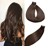 Tape in Hair Extensions #2 Dark Brown 100% Remy Human Hair Extensions Silky Straight for Fashion Women 20 Pcs/Package…