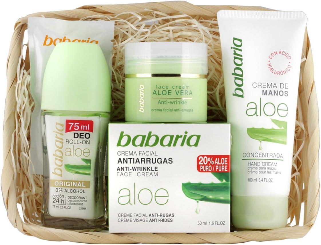 Babaria Crema Facial Antiarrugas 20% Aloe Vera de Manos y Desodorante Roll-On - 225 ml