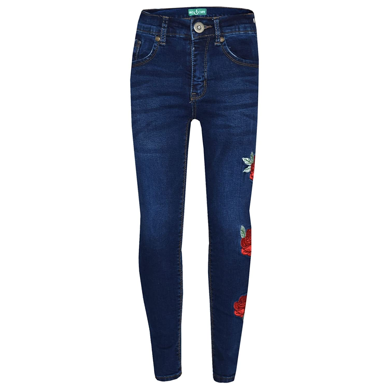 A2Z 4 Kids® Girls Stretchy Jeans Kids Rose Embroidered Denim Pants Fashion Trousers Jeggings Age 5 6 7 8 9 10 11 12 13 Years