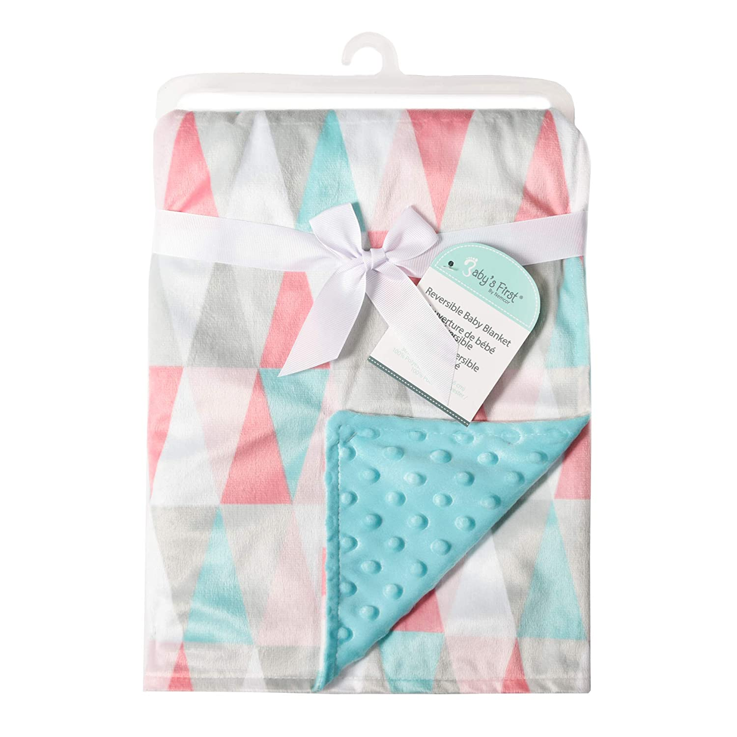 Decorative Triangles Babys First by Nemcor 35608-311-BLKT-GTRI Girl Blanket