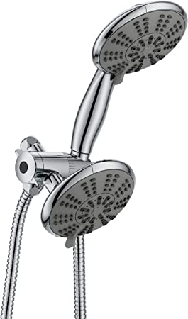 Ana Bath 5 Inch Anti Clog High Pressure 3 Way Large Dual Shower Head With Handheld Spray 5 Spray Setting Brass Connector 5 Ft Stainless Steel Hose All Chrome Ss5450ccp Hand Held Showerheads