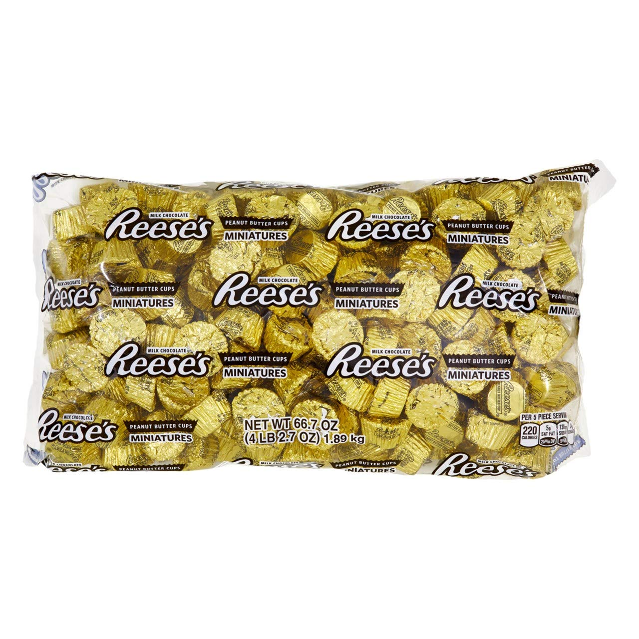 REESE'S Peanut Butter Cup Miniatures, Gold Halloween Chocolate Candy, 66.7 Ounce Bulk Bag (About 205 Pieces) by Reese's