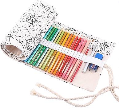 Abaría - Bolso para lápices, Estuche Enrollable para 48 lapices Colores, portalápices de Lona, Bolsa Organizador lápices para Infantil Adulto, Constelaciónl 48: Amazon.es: Electrónica