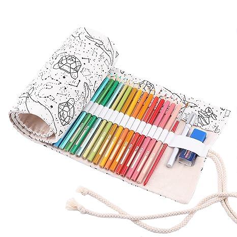Abaría - Bolso para lápices, estuche enrollable para 36 lapices colores, portalápices de lona, bolsa organizador lápices para infantil adulto, ...