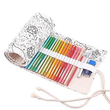 Abaría - Bolso para lápices, grande estuche enrollable para ...