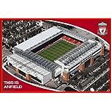 Fußball - Liverpool, Anfield Stadion - Sport Poster Fußball Fussballstadion - Grösse 91,5x61 cm + Wechselrahmen der Marke Shinsuke® Maxi aus Kunststoff rot - mit Acrylglas-Scheibe.