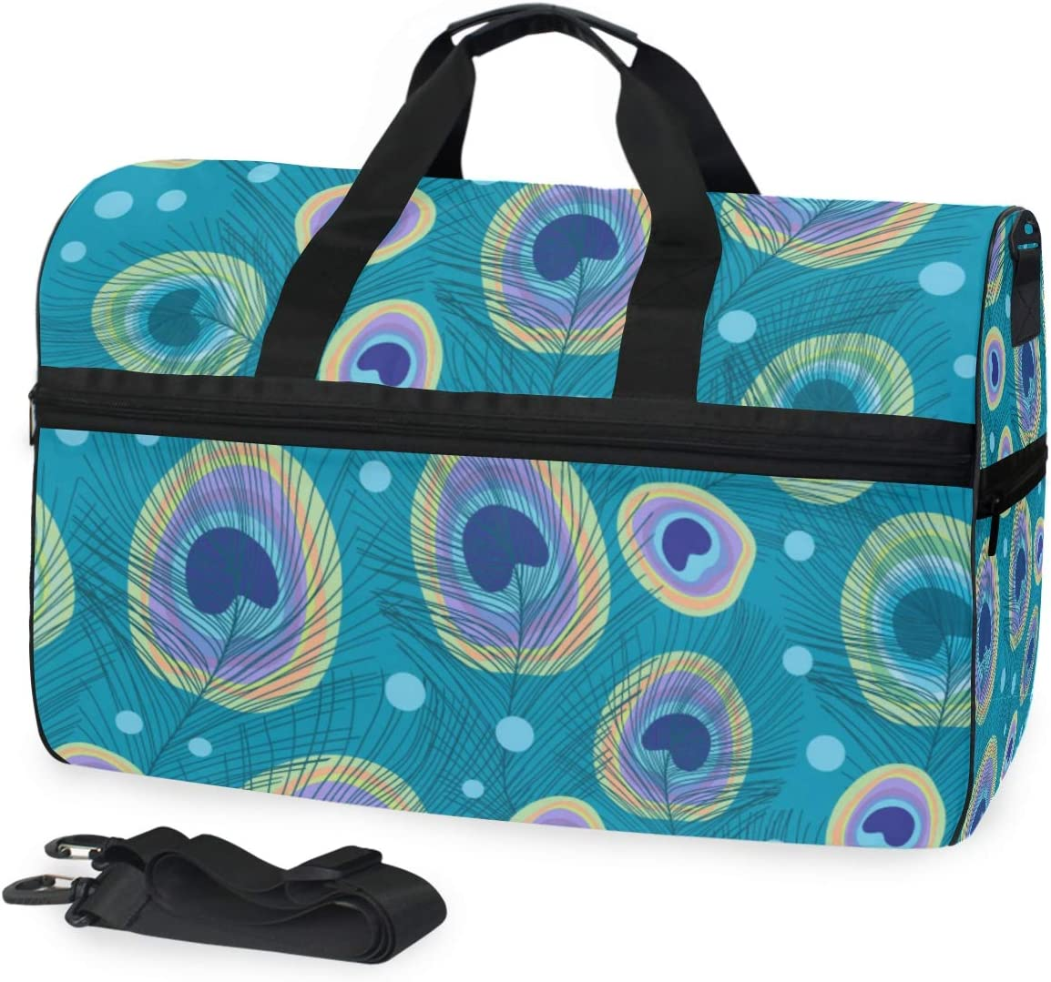 Stylish Peacock Feathers With Dots Sports Gym Bag with Shoes Compartment Travel Duffel Bag for Men and Women