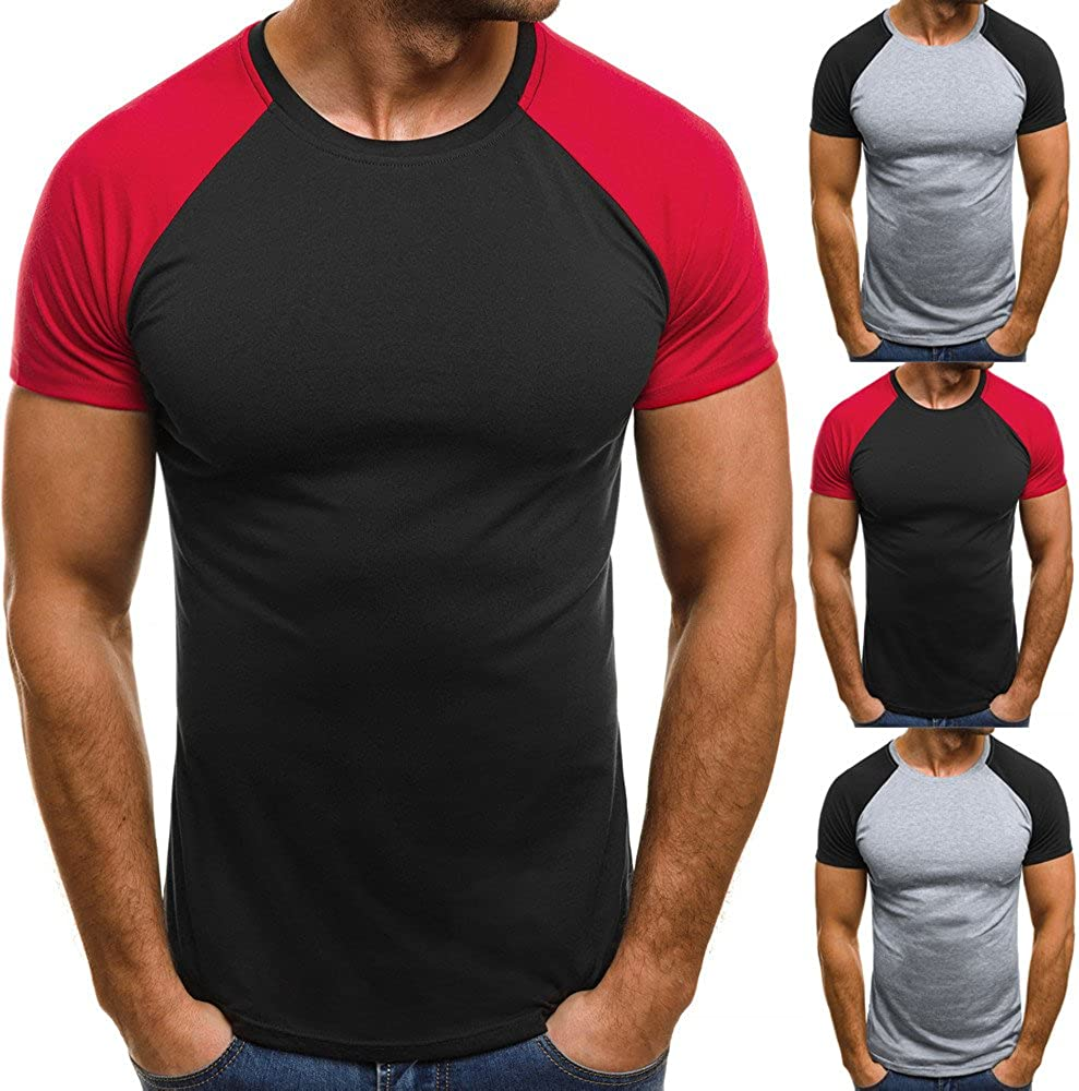 HELLOSAY Mens Muscle Patchwork Slim Casual Fit T-Shirt