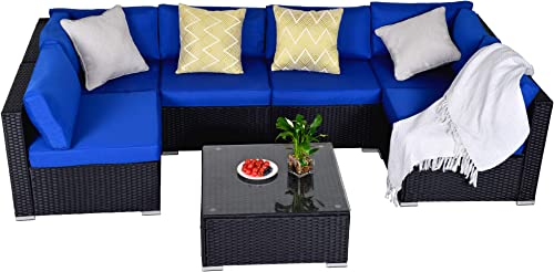 7 Pieces Outdoor Patio PE Rattan Wicker Sofa Sectional Furniture Set, All Weather Washable Cushions, Garden Lawn Pool Backyard Sofa Set with Coffee Table, Black Wicker Navy Cushions