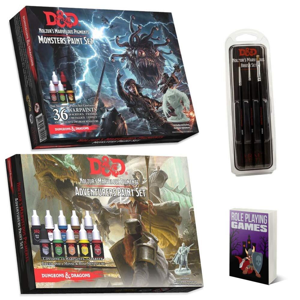 Mega D&D Army Painter Miniature Paint Kit Bundle, D&D Monsters, Adventurers Paint Set, DND Nolzur's Marvelous Brush Set, Miniature Painting Kit, Acrylic Art Supplies, Needed, Comes with by Generic