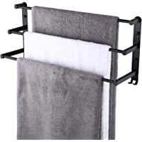 KES Zwarte handdoekhouder 3-tier badkamer handdoekenrek met haken wandmontage handdoekhouder voor badkamer en keuken…