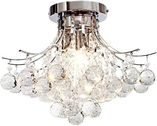 Lightess Flush Mount Crystal Chandelier Lighting 3-Light for Living Bedroom Hallway, Chrome Finish, LDY-A1