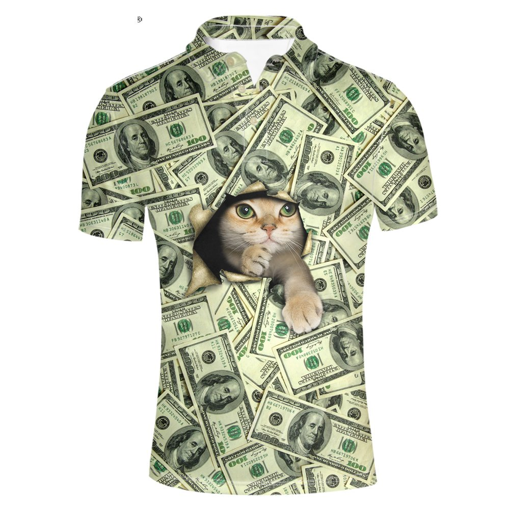 Pensura Cat Dollar Printed Polos Shirt for Men Pique Hawaiian Short Sleeve Shirt