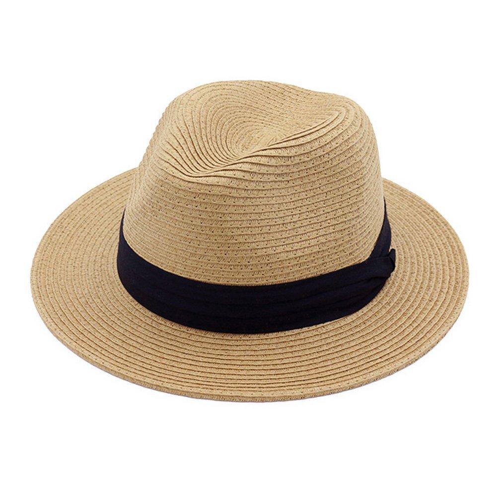 Lisianthus Women Wide Brim Straw Panama Hat Fedora Beach Sun Hat UPF50+ Lisinthus BSM0113-004-1