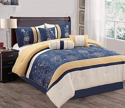 Amazoncom Modern 7 Piece Bedding Navy Blue Gold Off White