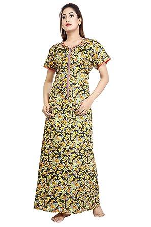 37a97916f Antara Women s Premium Cotton 18 inch Long Zip Nighty Nightwear   Night  Dress Sleepwear   Night Gown Feeding Nighty Maternity Nighty  Amazon.in   Clothing   ...
