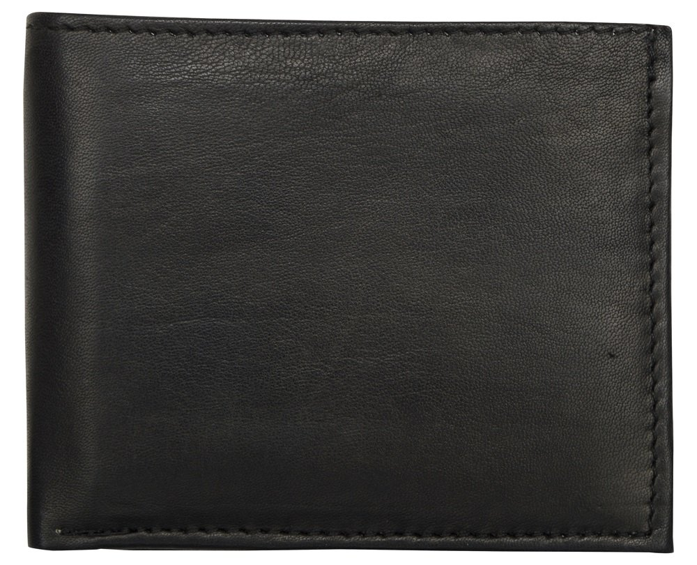 LEATHER OF INDIA Men's Leather Wallet Bi Fold - Soft Sheep Nappa With Side Flap 11.5 X 9 X 1 Cm Black by LEATHER OF INDIA (Image #1)