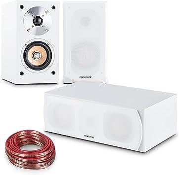 Auna Linie-501 Set Altavoces HiFi (Home Cinema, estantería 50W RMS, Altavoz Central 60W RMS, Equipo de Sonido) - Blanco