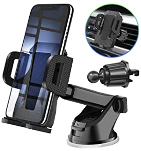 MIRACASE Car Phone Mount Universal Car Phone Holder with Dashboard Air Vent Windshield Cell Phone Holder with Telescopic Arm & Dashboard Pad Fit for iPhone Samsung LG Sony Motorola Huawei and More