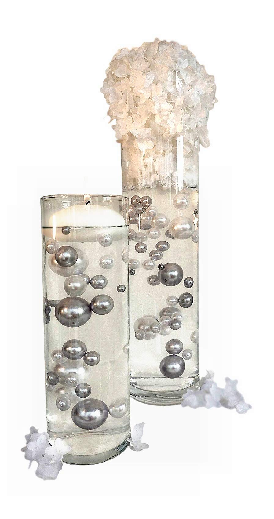 80 Silver and White Pearls Jumbo and Assorted Sizes - Vase Fillers for Decorating Centerpieces. NOT INCLUDING THE TRANSPARENT WATER GELS FOR FLOATING THE PEARLS (SOLD SEPARATELY).