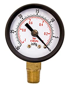 "1-1/2"" Utility Vacuum Pressure Gauge, WOG, 1/8"" NPT Lwr Mount, 30HG/0PSI GSAD1511-VUPD, OEM"