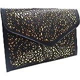 Ships From US-Mily Hollow Out Flower Envelop Clutch Chain Tote Shoulder Bag Handbag Black