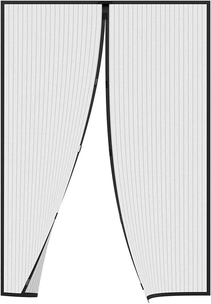 GOUDU Mosquitera Puerta Magnetica Mosquiteras para Puertas con Durable Mantiene los Mosquitos de Insectos Fuera, para Puertas Correderas - Negro 140x210cm(55x83inch)
